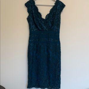Tadashi Shoji teal sleeveless lace dress size 10